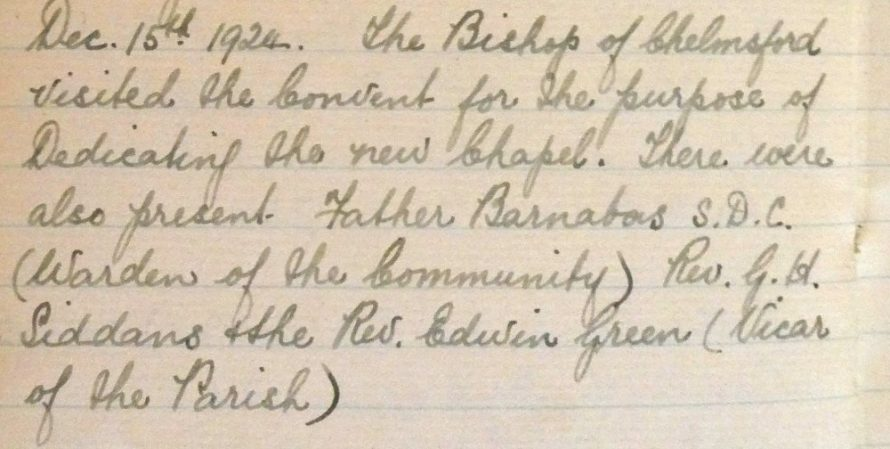 From the Convent's Diary 1924 | Courtesy of Douai Abbey Library and Archives