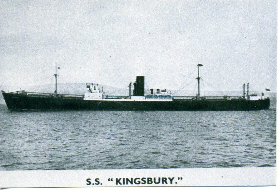 SS.Kingsbury crew 37, speed 8 knots. 8000 tons cargo | Ian Hawks.
