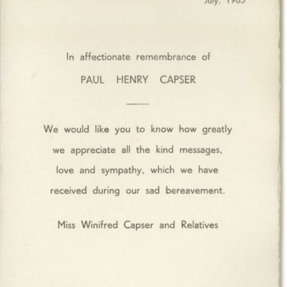 Paul Henry Capser's Rememberence Card - July 1965 | Dave Bullock