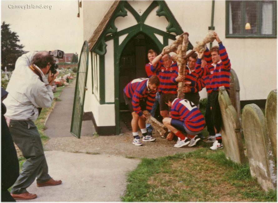 The Canvey Island Rugby Club moving the Anchor from the Historical Society at St Katherines Church to the Dutch Cottage Museum in 1993 | Stan & Vera Oaker