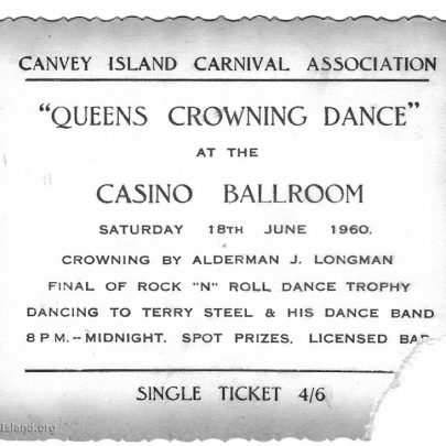 Ticket for the Queen's Crowning Dance at the Casino 18.6.60 | Pauline Hayford nee Woodcock