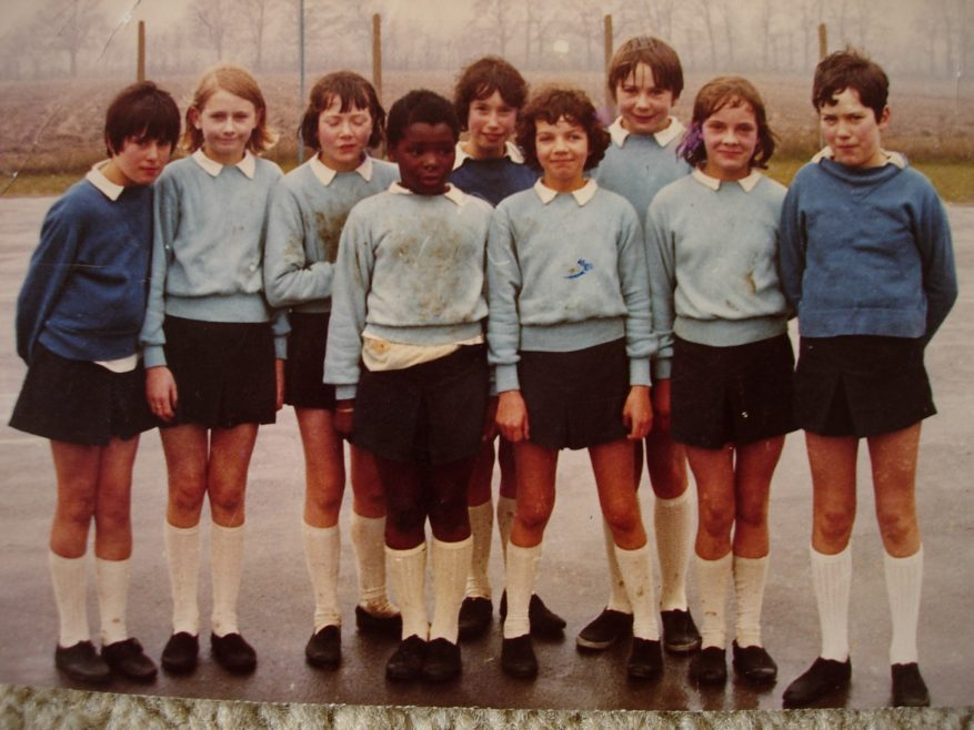 This game must have been quite a battle...Circa 1967, from left: Diana Jones, Carole Wall, Heather Letchford, Folake Okulaja, Elizabeth Page, Annette Hudson, Lucy Fairman, Jane Coleman, Gina Wright. Mrs Dingle was our netball teacher and imbued me with a love of netball that lasted for 47 years. | Annette Hudson