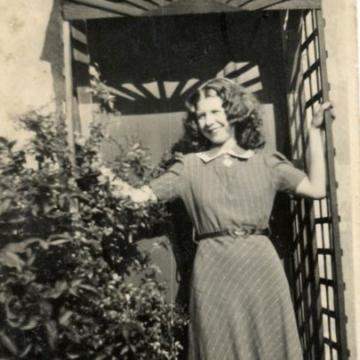 Mum (Gladys Payne) outside our home, probably early 1950's