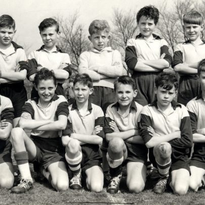 Long Road Primary School football team on April 2nd 1960 after winning the Benfleet Shield at Hadleigh Primary School against Manor (Basildon). I think it was 3 - 1. On the way to the final we beat Markhams Chase 8 - 0, Billericay 10 - 1 and Wickford 5 - 3. Back row L to R:- Ian Wenham,Neil Brockes, David Ealding, Robert Reed, Alan Thorpe. Front row:- Dennis Haspineall, Derek Wilkinson, Philip(Pippy) Hope, George Payne, Christopher Smith, Malcolm Wilkinson. | George Payne