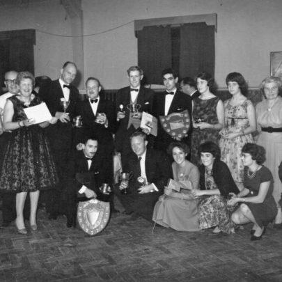 31 L to R George Chambers, Olive, Gerry Jeffries, kneeling John Lawrence, Ray Walsh, Marian Patten(poss), Grace Loader, Skipper. | Marian Patten