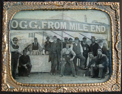 Obviously 'Ogg from Mile End' knew a business opportunity when he saw one. Setting up his tent on Canvey, making his London public with their free rides and charabancs feel at home... It would seem that the entrepreneur might be the only one having removed his hat for the occasion, seated far right? (The original is actually a framed glass slide.)
