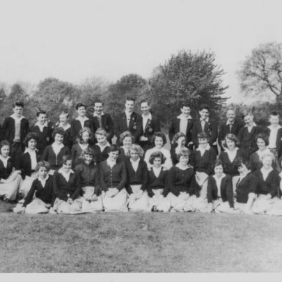 64 Mr Goodfellow at back left. 9th from left back row Ron Smith. Middle row from left Marion Peddel, Kay Smith, ?, Iris Cutbush (4th), Yvonne Reeman (8th), Marian (9th). | Marian Patten