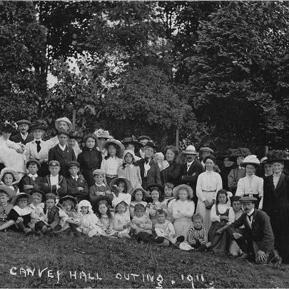 The postcard says 'Canvey Hall Outing, 1911'. Would that be the Methodist Hall? Joan's future father-in-law, David Ogg (2) in school cap and blazer, seated in the second row, fourth from left.