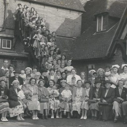Guides and Brownies and I think Mother's Union on a visit to St Mary's, Great Maplestead, Essex. The lady holding the little boy on the end was my Grandmother Mrs Wilmot | Greta Parker Quaif was Anderson