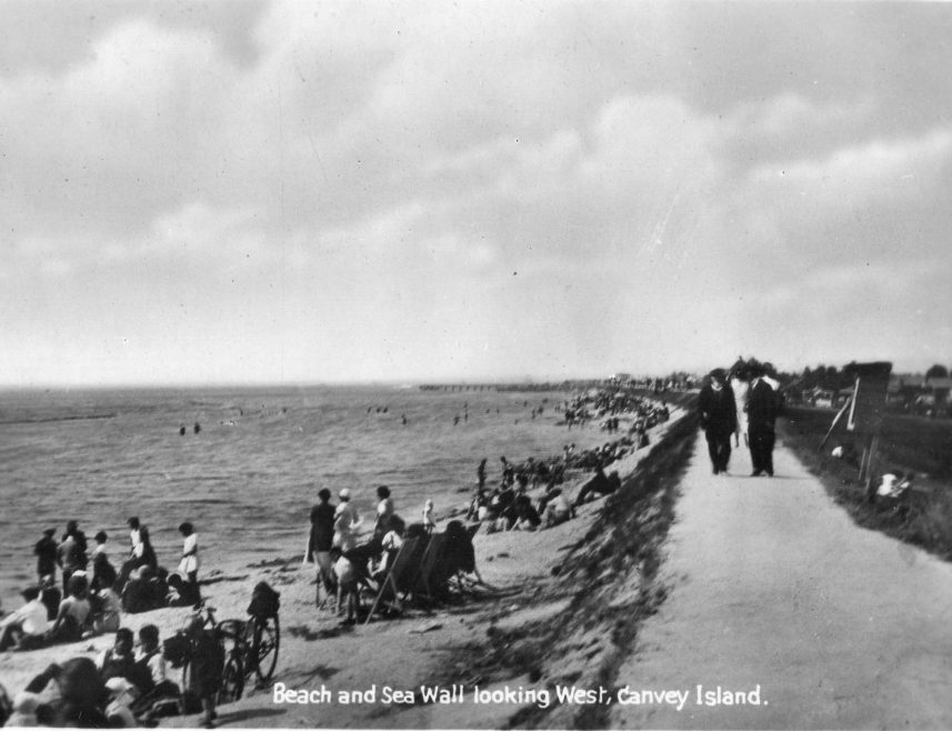 Beach and Sea Wall looking West. Canvey Island.