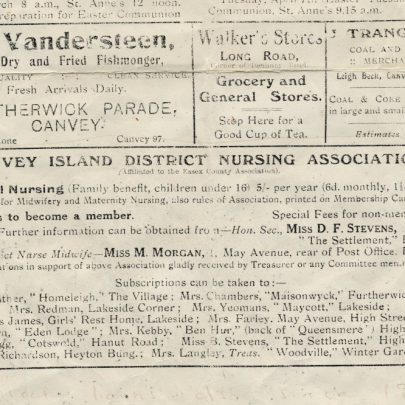 Advert for the District Nursing Association date unknown but definitely before 1933