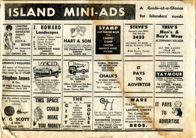 Island Mini-ads from the 1970s