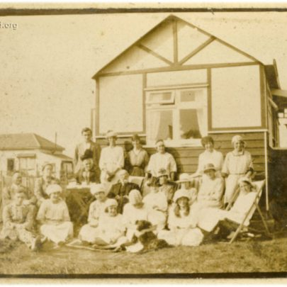 1922: The Stuckey Family at their bungalow on Canvey - Can you identify anyone? I believe we are looking north with Westerland Ave in the background | David Bullock