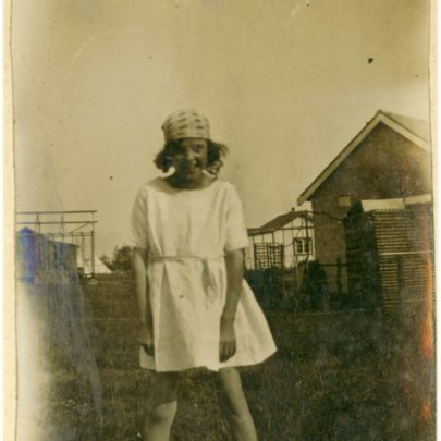 1922: Little Miss Stuckey - Note a Bungalow is being built in the background | David Bullock
