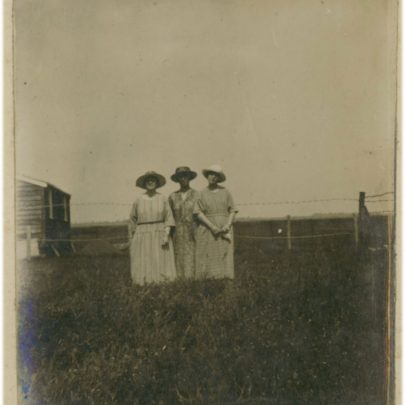 1922: Three Stuckey women in a row on grassy Canvey | David Bullock