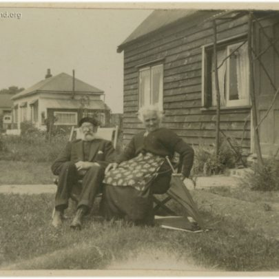 1922 Canvey: Can anyone identify this elderly couple? I believe this is in Westerland Ave and this bungalow still stands today. This bungalow and the one behind can be seen in the background of the Stuckey's bungalow photos | David Bullock