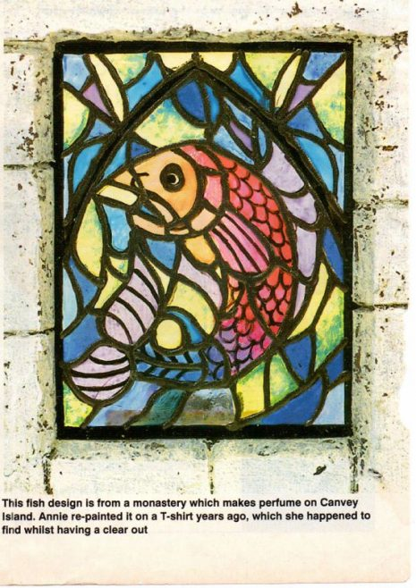Fish design window from the monastery on Canvey Island. A case of mistaken identity I think. | Annie Willis