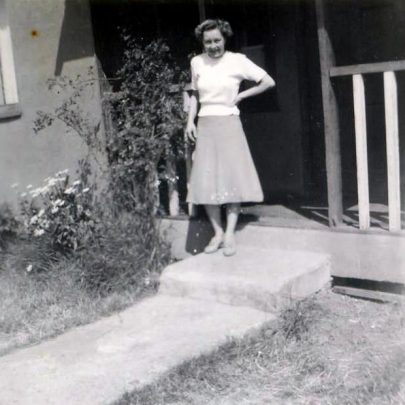 My Nan at the front entrance to the bungalow | BrianL