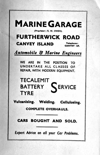 Marine Garage Adverts 1947