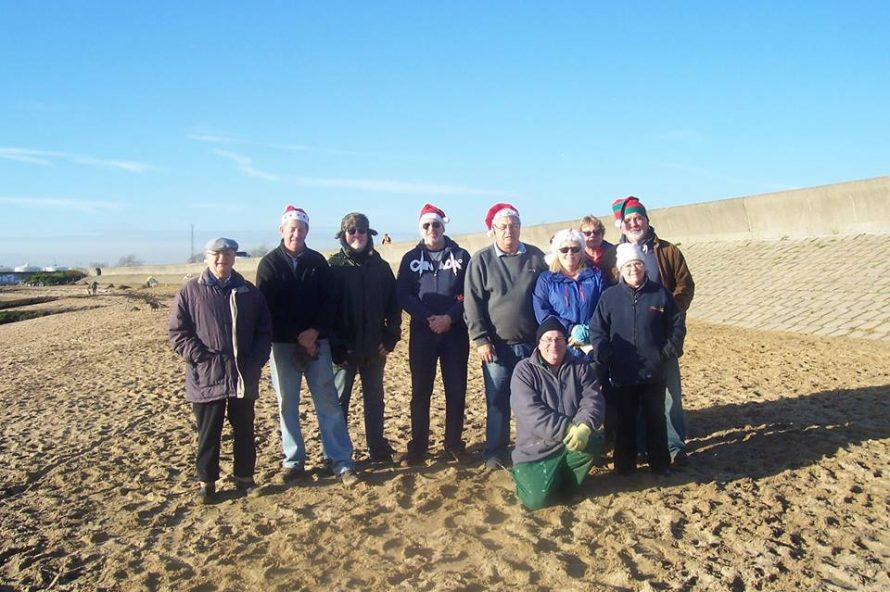 Some of the group helping to clean up Thorney Bay Beach