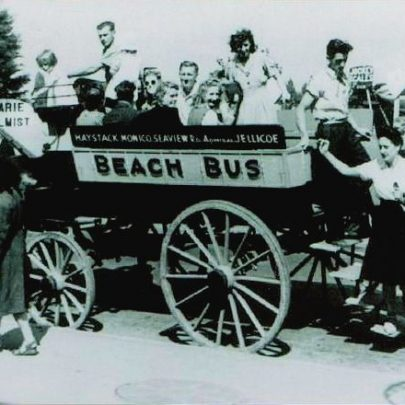 Horse-drawn buses were still in evidence just after the second World War. David William's Beach Bus appears well patronosed in this photograph. | Canvey Island's Early Buses by Peter Clark
