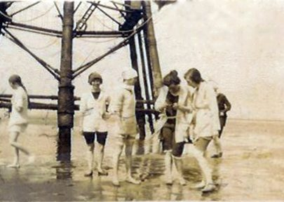The fun of the seaside. Flappers of the early '20s at the base of the Chapman Lighthouse... | Courtesy of Barbara Pearce