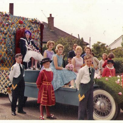 In Haven Road, Canvey before the start of the carnival procession  23.7.1960  (I am in the blue dress and Val is in the pink dress) | Pauline Hayford nee Woodcock