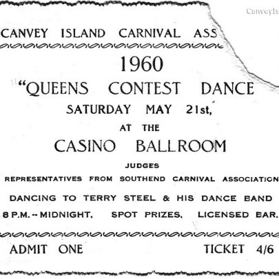 Ticket for the Queen's Contest Dance at the Casino Ballroom 21.5.60 | Pauline Hayford nee Woodcock