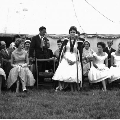 Canvey Carnival openeing day 21.7.60 (I am front left next to Iris Mason)  The twins further along the row were Lorna and Thelma Grayson who were then students at the Italia Conti Stage School in London and who opened the carnival proceedings | Pauline Hayford nee Woodcock