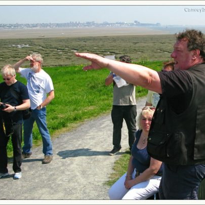 Chris shows the visitors Long Horse Island from Canvey Heights   (c) David Bullock