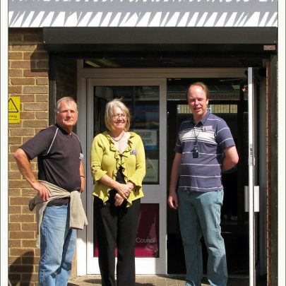 CCA: Graham, Barbara & Mark outside Canvey Library | Dave Bullock