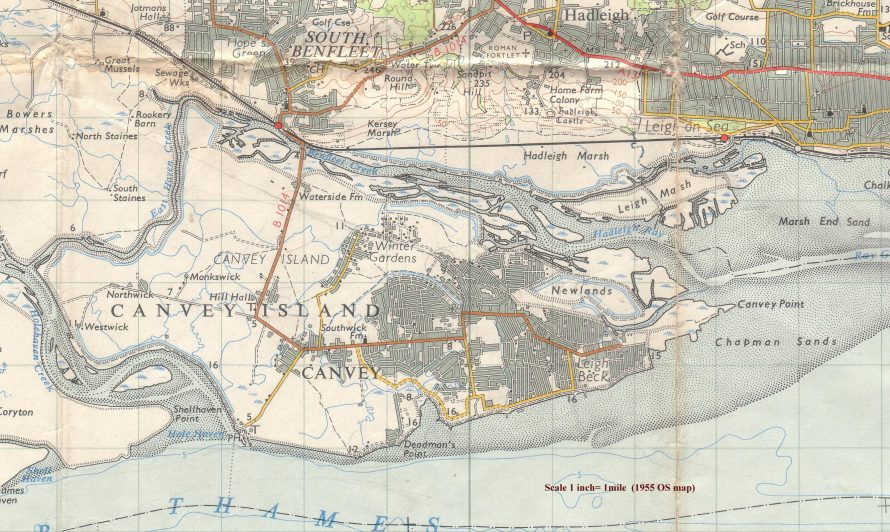 1955 OS map of Canvey