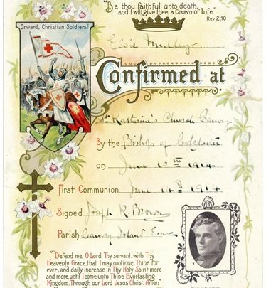 Life on the island. The Confirmation Certificate of Elsie Mulley at St Katherine's Church in 1914. | Courtesy of Barbara Pearce