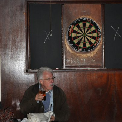 Bob Parks has a pint before his legendary