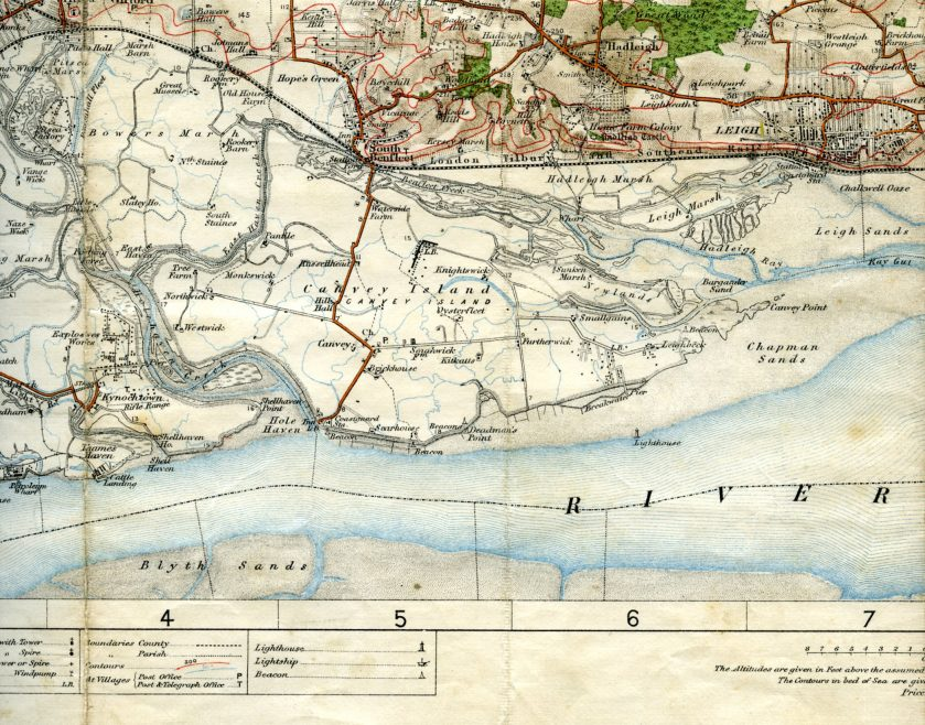 1909 OS Map of Canvey | Click to see enlargement