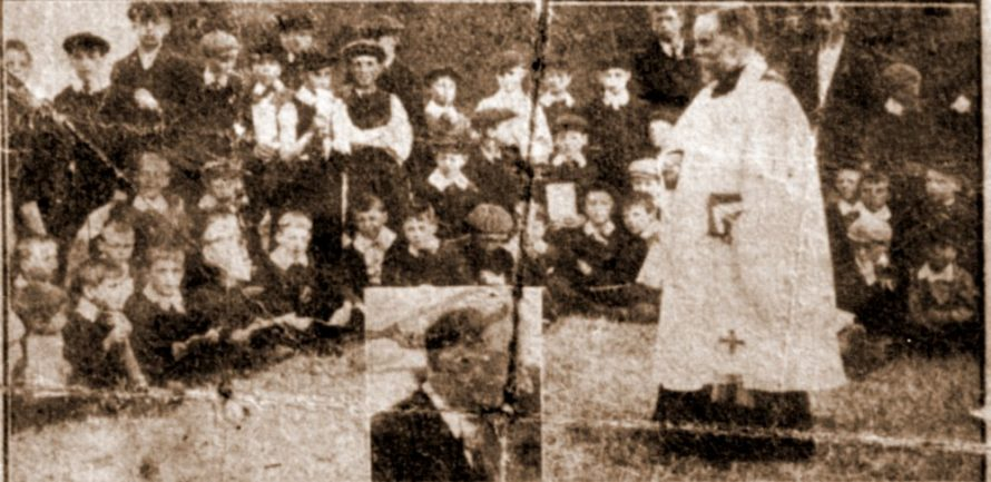 The Rev. J R Brown, Vicar of Canvey, conducted a service on Friday evening at the Children's Camp at Canvey, where there are 150 girls and boys from the West Ham Schools. Inset, Alderman J R Hurty, JP, Chairman of the Committee of the West Ham School Children's Holiday Camp. | Terry Brown