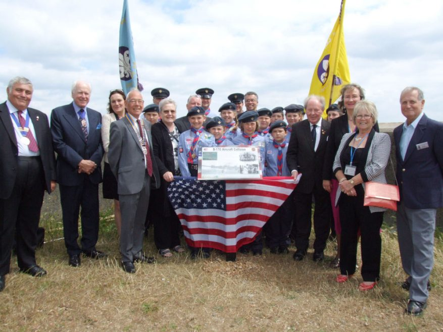 l-r Town Council Chair Peter Greig, Vice Chair Essex County Council John Aldridge, MP Rebecca Harris, President Canvey Rotary, Janet Penn CCA, 5th Canvey Air Scouts, Borough and County Cllr Ray Howard, Janet Walden CCA, Canvey Community Archive (CCA) Chair Joan Liddiard and Graham Stevens CCA plus hiding in the back Geoff Burke and Rev David Tudor.