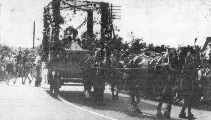 Canvey's Carnival Queen being pulled by horses. Any ideas of the year?