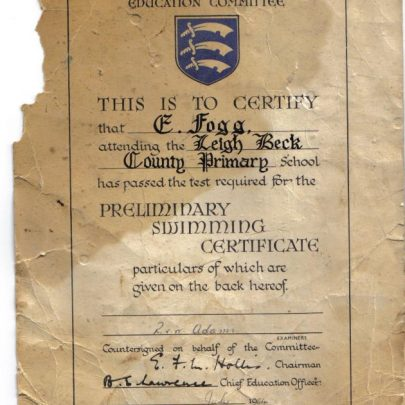 My Leigh Beck School swimming certificate for swimming one lenght of the pool July 1964. | Eddie clarke