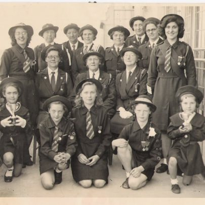 circa 1944 presentation on balcony of the Casino. Girls Life Brigade | Loraine Debnam
