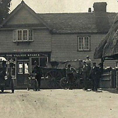 Close-up of village postcard