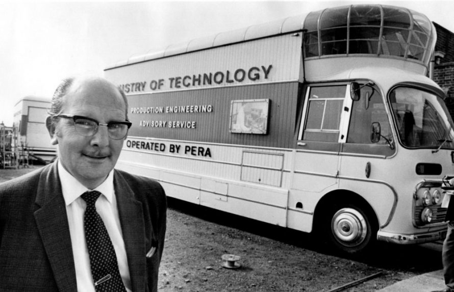 Ian Cuthill of the Production Engineering Research Association with mobile display unit. | Echo Newspaper Archive