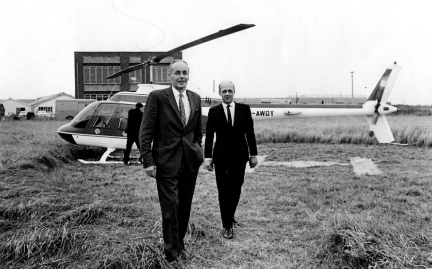 Arriving by helicopter Norman Haydon, Director and General Manager of London Carriers and Trevor Pearson of Pye of Cambridge Ltd | Echo Newspaper Archive