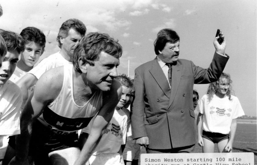 Dated 1989. Simon Weston starts 100 mile charity run | Echo Newspaper Archive
