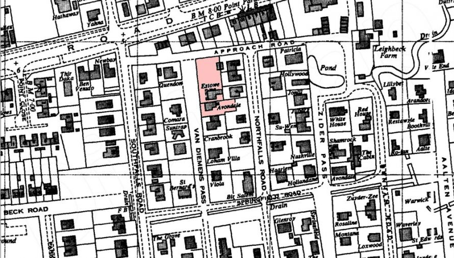 Later map of the area dated 1960s. Places of interest marked pink.