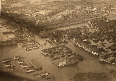Aerial view of flooded Canvey Island, 1953