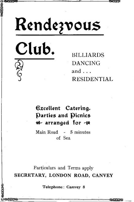 Rendezvous Club Advert 1928