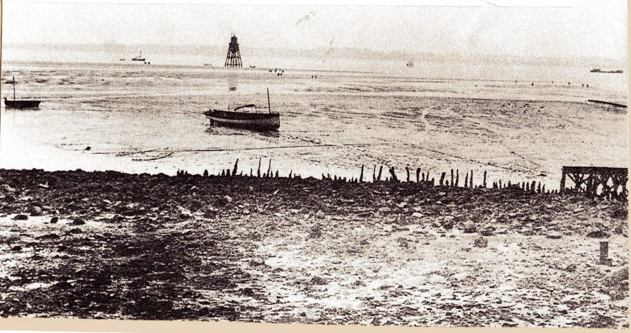 Chapman Lighthouse and remains of old Dutch sea wall.