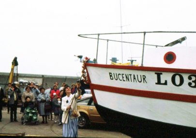 The launching of a new fishing boat.
