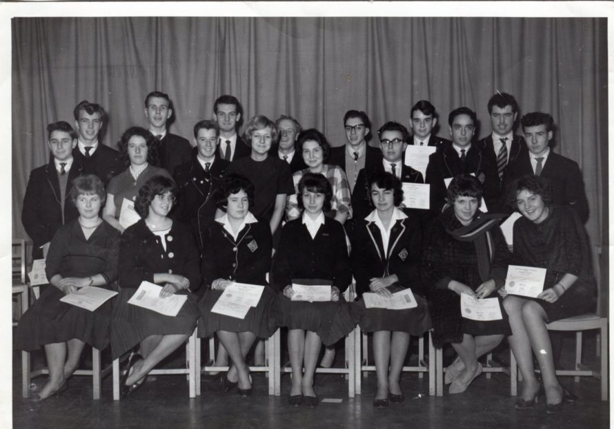 The awards evening at Furtherwick 1960/1962 front row  ? , me Helen Barnes, Sheila Jackson, Lynn Harrison, Pat Hartnell , ? , ? Middle row David Holloway , ? , Paul Benson,  Janet Miller ,  ?, Martin ...., Roger Flynn, ?  Back row  ? ,  ..... Rogers,  ? , ?,  ?,  Graham ......, Michael Jones. | Helen Thurlow